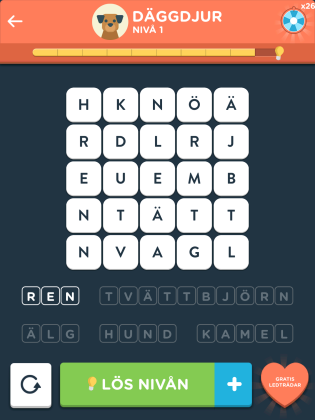 Wordbrain 2 däggdjur level 1